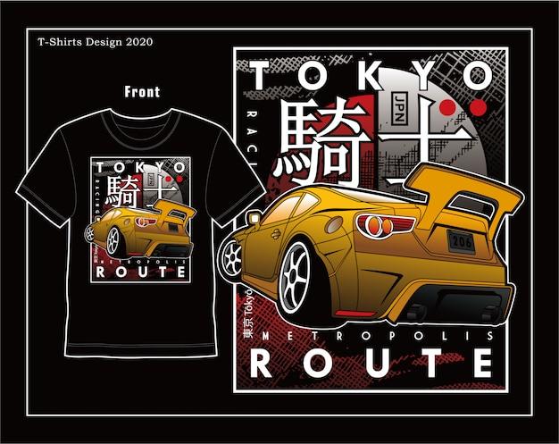 Rota de velocidade de tóquio, design de ilustração vetorial de carro tipografia
