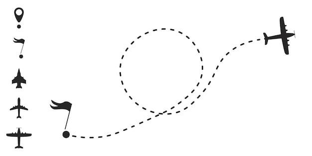 Rota do avião em forma de linha pontilhada. uma rota a partir de uma linha na forma de pontos. conceito de viagens