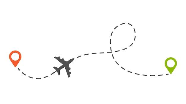 Rota do avião. ilustração em vetor trilha pontilhada avião ou aeronave isolada. trajeto de viagem tracejado, plano de rota do marcador