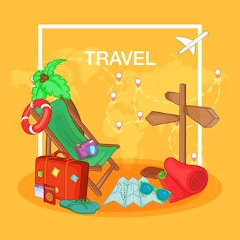 Rota do conceito de viagens, estilo cartoon