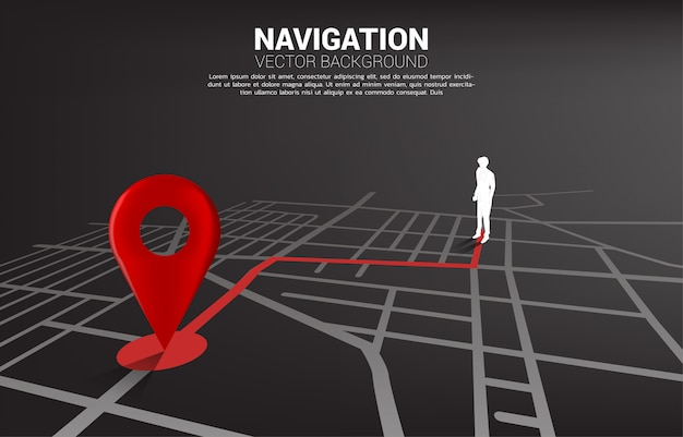 Rota entre os marcadores de localização 3d e o empresário no mapa rodoviário da cidade. conceito de infográfico do sistema de navegação gps.