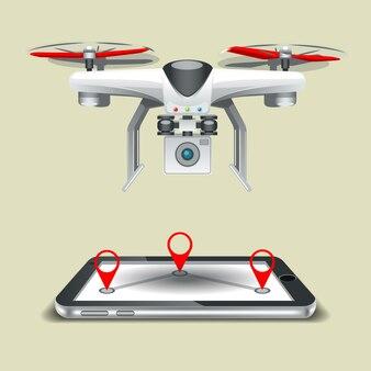 Rota para drones no celular.