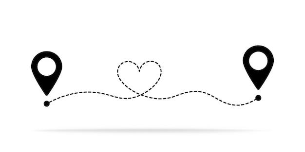 Rota preta para o coração com dois ponteiros no mapa.