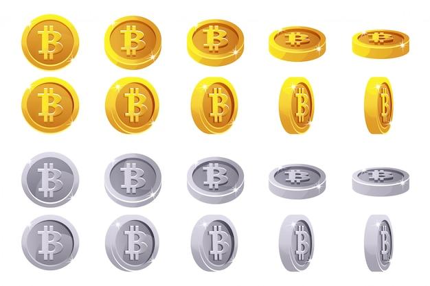 Rotação de animação moedas de ouro e prata em 3d bitcoin. moedas digitais ou virtuais e dinheiro eletrônico.