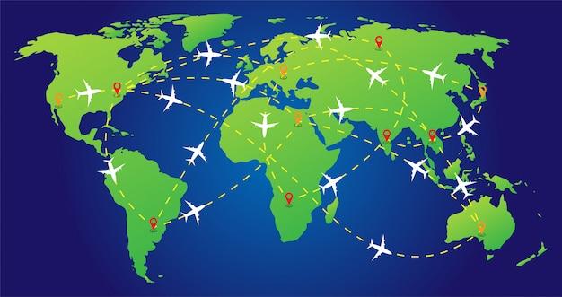 Rotas planas sobre o mapa do mundo com marcadores ou ponteiros do mapa