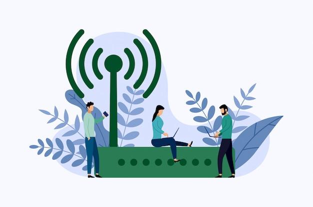 Roteador de modem ethernet sem fio com caracteres, ilustração em vetor conceito negócio