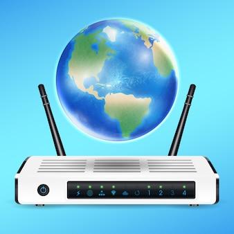 Roteador modem com globo da terra conecte internet