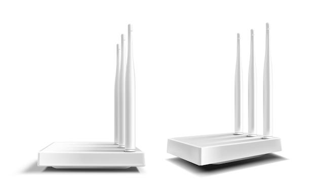 Roteador wifi, modem de banda larga sem fio com antenas isoladas em branco