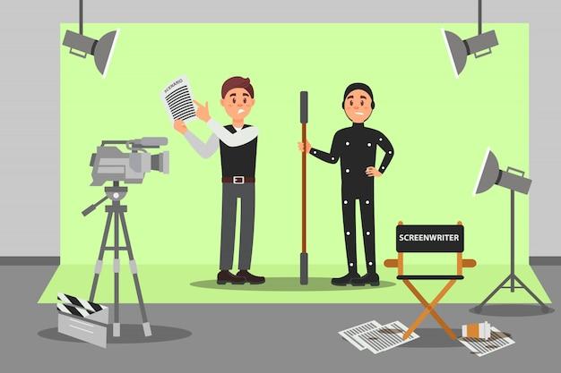 Roteirista e ator trabalhando no filme, indústria do entretenimento, cinema