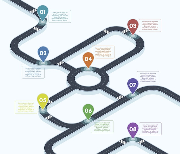 Roteiro isométrico. infográfico de mapa de estrada de rua de cidade, ilustração de fundo vetorial conceito de cronograma de estrada 3d. mapa de navegação rodoviária da rodovia. estrada da cidade, pontos de localização do roteiro
