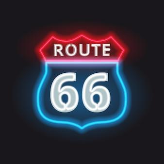 Roteiro retro 66 neon brilhante sinal