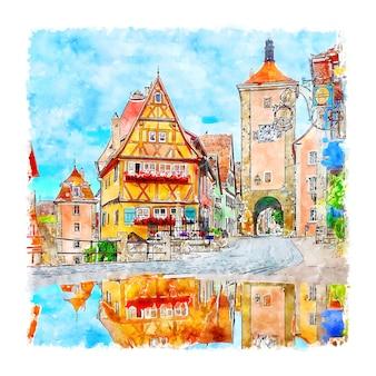 Rothenburg alemanha ilustração de desenho em aquarela de mão desenhada