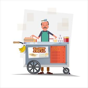 Roti vendedor com carrinho.