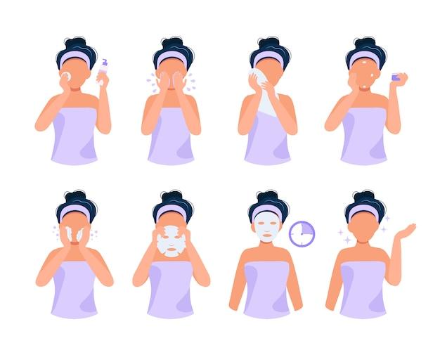 Rotina de cuidados com a pele. ilustração ajustada com a menina que faz etapas diferentes, cuidados com a pele, rotina de beleza.