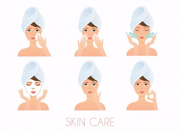 Rotina de cuidados com o rosto. menina, limpeza e cuidados com o rosto com várias ações definidas. cuidados com a pele .