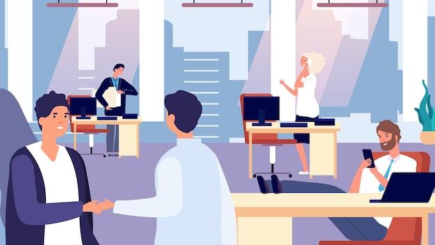 Rotina de escritório. pessoas felizes no trabalho. cumprimentando o novo funcionário, ilustração vetorial de personagens de escritório. funcionário de escritório, trabalho rotineiro de negócios