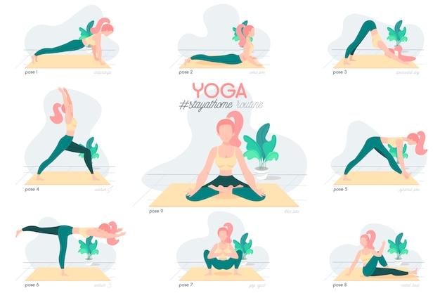 Rotina de ficar em casa com o personagem de ioga