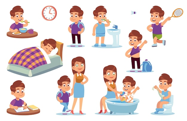 Rotina de menino. atividades diárias da criança, criança pequena dorme na cama, acorda no quarto e toma banho com a mãe, faz a lição de casa e toma o café da manhã na escola, joga tênis conjunto de desenho vetorial isolado