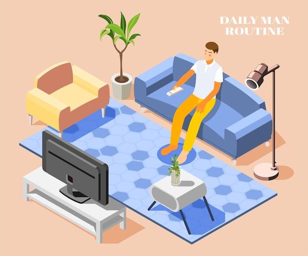 Rotina diária com homem assistindo tv no sofá em casa 3d