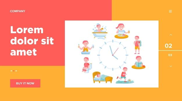 Rotina diária de criança relógios ilustração plana.