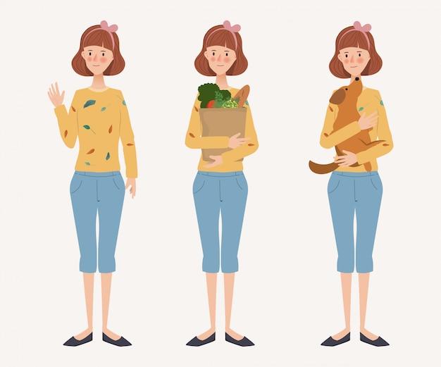 Rotina diária do estilo de vida jovem dona de casa. personagem desenhada de mão. mulher e atividade.