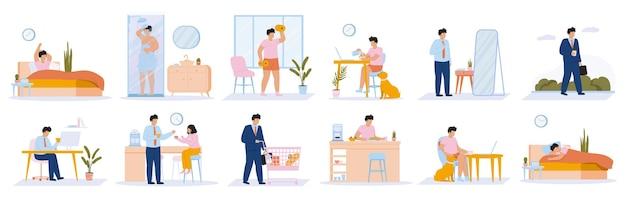 Rotina diária do homem. atividades diárias de lazer e trabalho de cara jovem, comer, trabalhar, dormir.
