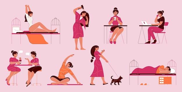 Rotina diária feminina definida com ícones isolados com personagens femininas em estilo doodle durante várias atividades cotidianas.