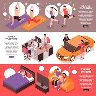 Rotina diária para banners horizontais isométricos de casal fitness e trabalho juntos à noite em casa
