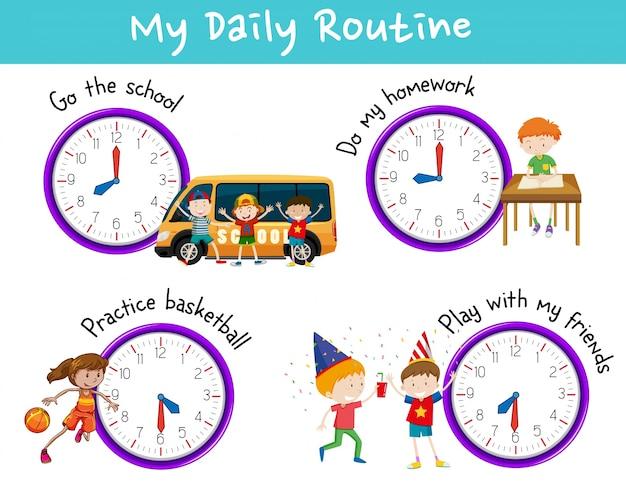 Rotina diária para crianças com relógio e atividades