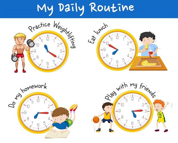 Rotina diária para diferentes pessoas com relógios amarelos