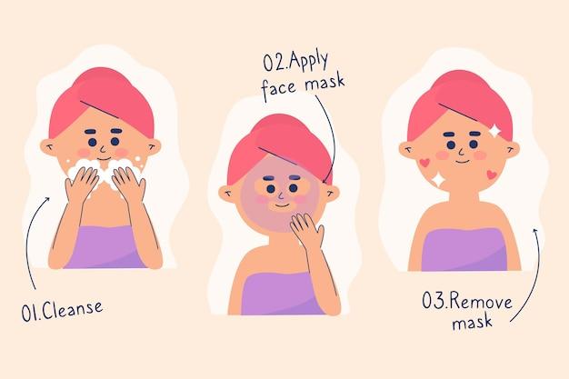 Rotina ilustrada de cuidados com a pele para mulheres