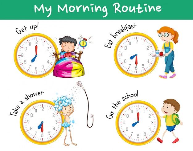Rotinas matinais com relógios e crianças