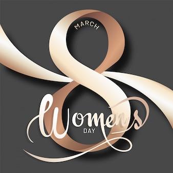 Rotulação à moda do dia das mulheres do 8 de março no fundo cinzento. pode
