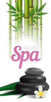Rotulação, bambu e pedras do salão de beleza dos termas. cartaz de publicidade de salão de spa