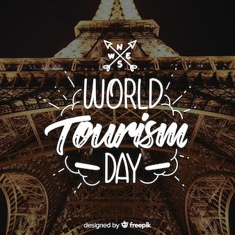 Rotulação branca do dia mundial do turismo