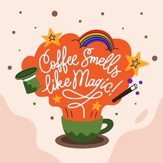 Rotulação citações cartaz motivação café cheira a magia