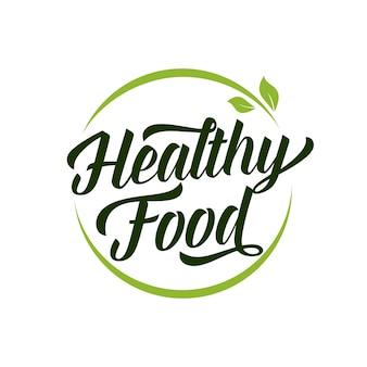Rotulação de alimentos saudáveis em quadro redondo