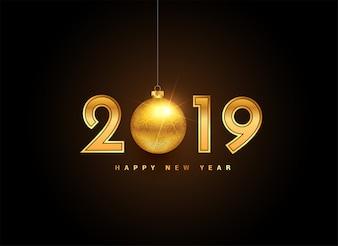 Rotulação de ano novo de ouro de 2019 com bola de natal