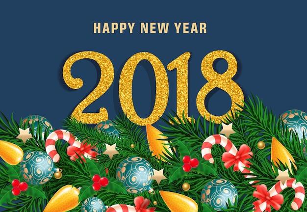 Rotulação de ano novo em fundo azul
