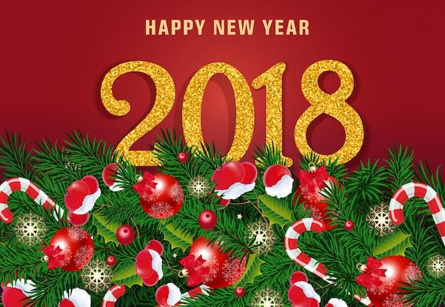 Rotulação de ano novo em fundo vermelho
