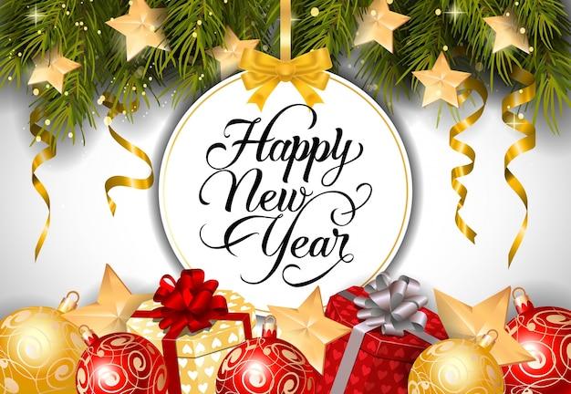 Rotulação de ano novo na etiqueta redonda