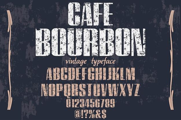 Rotulação de bourbon de café estilo alfabético