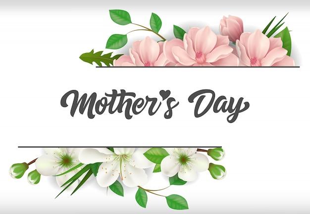 Rotulação de dia das mães com flores. cartão de dia das mães.