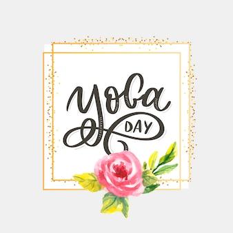 Rotulação de dia de yoga com flor