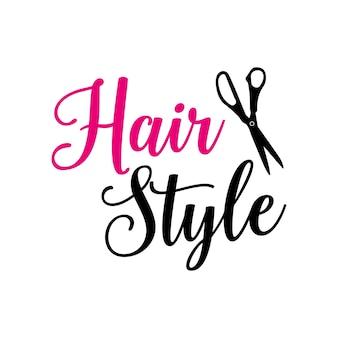 Rotulação de estilo de cabelo com tesoura