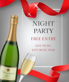 Rotulação de festa à noite com garrafa de champanhe e cálice