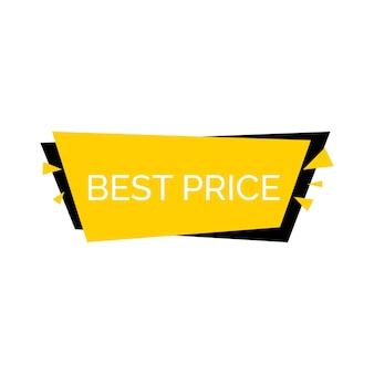 Rotulação de melhores preços em fundo amarelo