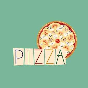 Rotulação de pizza e ilustração