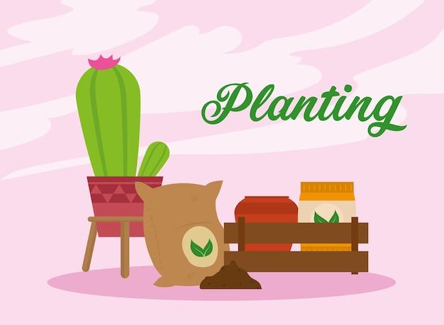 Rotulação de plantio e cena de plantas