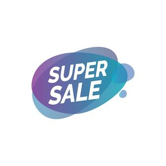 Rotulação de venda super em borrões transparentes